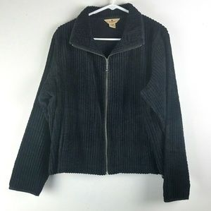 WOOLRICH Womans XL Black Corduroy Shirt Jacket Zip